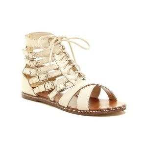NYLA Bone Empressa Strappy Lace Up Buckle Sandal